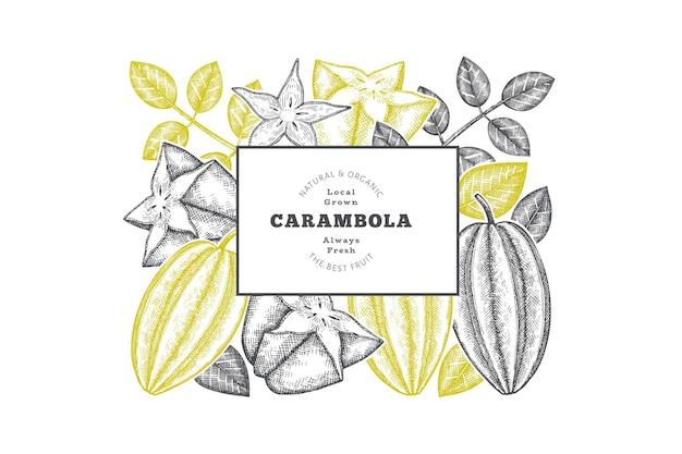 Bandera de carambola estilo boceto dibujado a mano. ilustración de vector de fruta fresca orgánica. plantilla de diseño de frutas retro