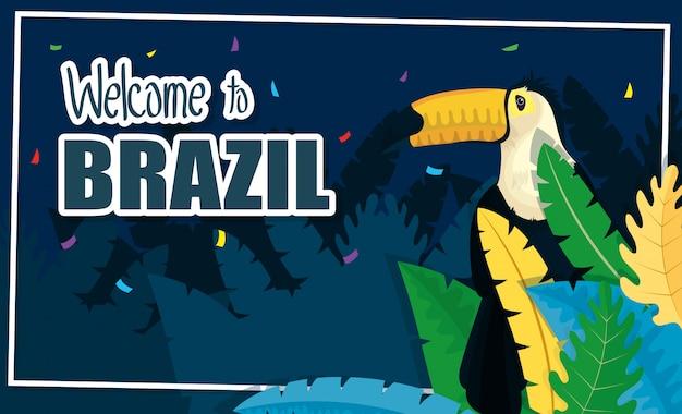 Bandera de carnaval de brasil con tucán