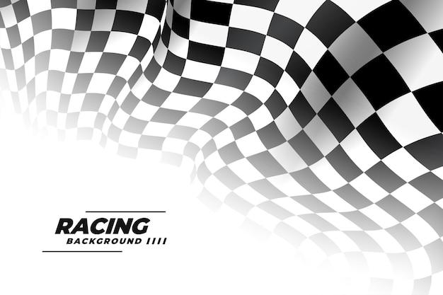 Bandera de carreras 3d sobre fondo blanco.