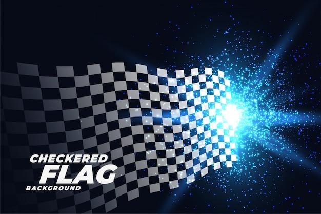Bandera de carreras a cuadros con fondo de partículas de luces azules