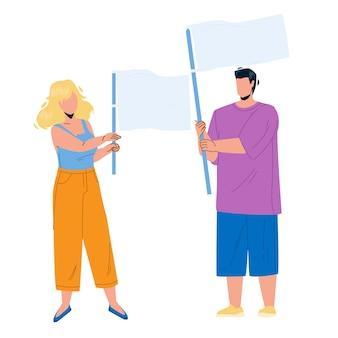 Bandera de celebración de pareja de niño y niña en vector de protesta. hombre y mujer jóvenes sostienen ondeando la bandera juntos en la reunión. personajes personas manifestación o demostración ilustración de dibujos animados plana