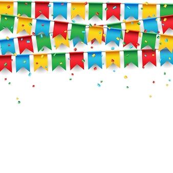 Bandera de la celebración del partido en el fondo blanco