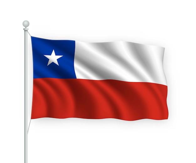 Bandera de chile en el asta de la bandera aislado en blanco