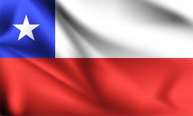 Bandera de chile ondeando al viento.