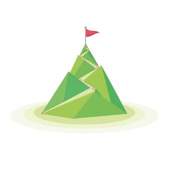 Bandera en la cima de la montaña