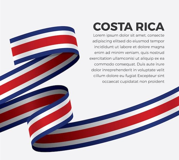 Bandera de cinta de costa rica, ilustración vectorial sobre un fondo blanco.