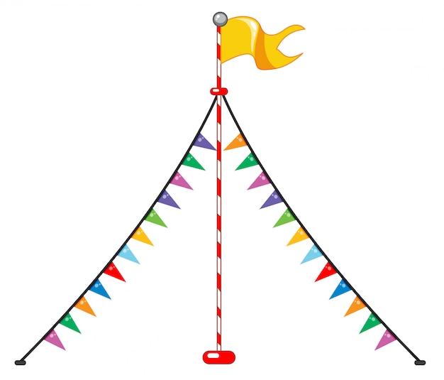 Bandera de circo y triángulos coloridos