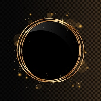 Bandera de círculo brillante. poliedro geométrico dorado con espejo negro. aislado sobre fondo negro transparente.