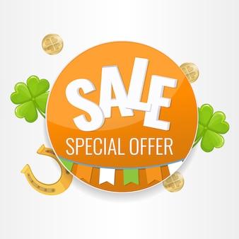 Bandera del círculo del día de san patricio con banderas irlandesas guirnalda, trébol, monedas y herradura.