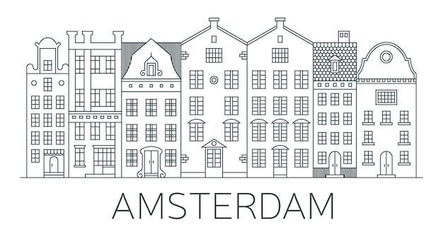 Bandera de la ciudad de amsterdam en estilo de línea.