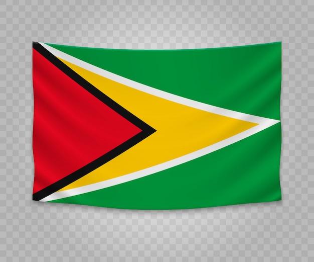 Bandera colgante realista de guyana