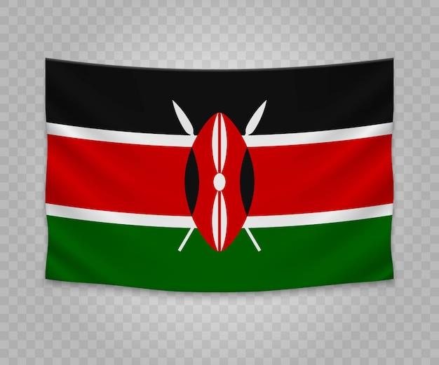 Bandera colgante realista de kenia