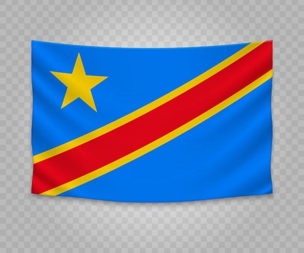 Bandera colgante realista de república democrática del congo