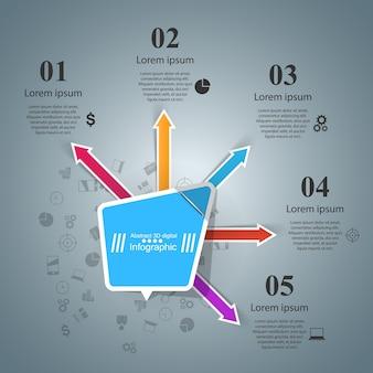 Bandera de color de papel - infografía de negocios.