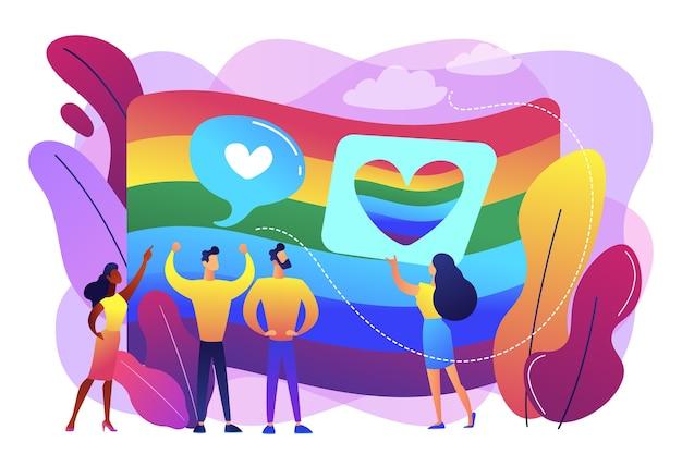 Bandera de colores del arco iris y manifestación comunitaria lgbt con corazones. sexualidad e identidad de género, orientación sexual, concepto de movimiento lgbt.