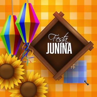 Bandera colorida de festa junina con linterna