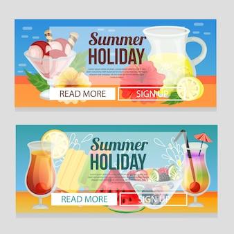 Bandera colorida de las vacaciones de verano con la ilustración del vector de la bebida del refresco