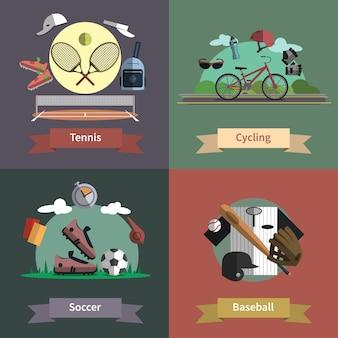 Bandera de la composición de los iconos planos del deporte 4