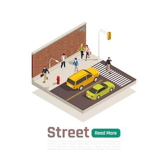 Bandera de composición isométrica de color de la ciudad con el título de la calle aislado tráfico por carretera y peatones ilustración vectorial