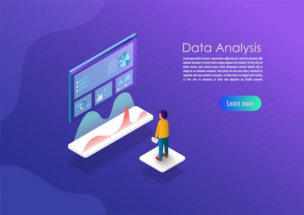 Bandera de concepto de análisis de datos isométricos.