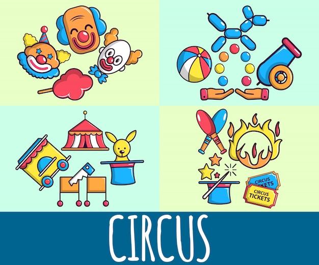 Bandera de concepto de circo, estilo de dibujos animados