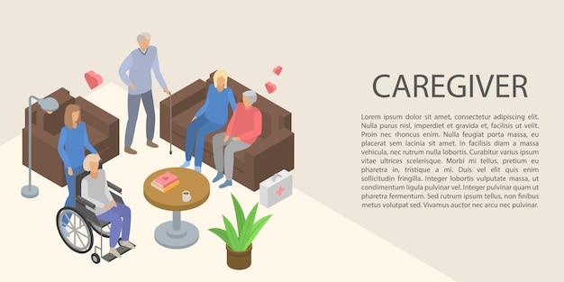 Bandera del concepto de cuidador, estilo isométrico