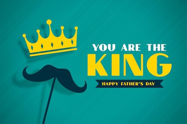 Bandera del concepto del día del padre del rey con corona