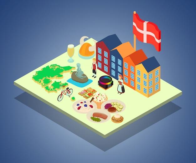 Bandera concepto escandinavia, estilo isométrico.