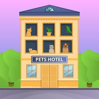Bandera del concepto de hotel de mascotas, estilo de dibujos animados