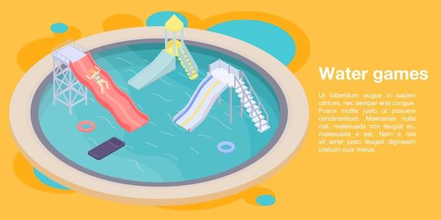Bandera de concepto de juegos de agua, estilo isométrico