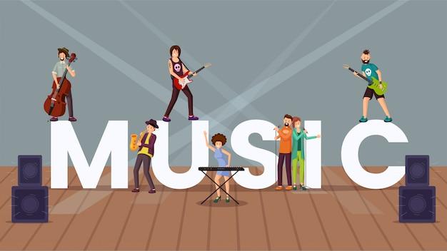 Bandera de concepto de la palabra de música