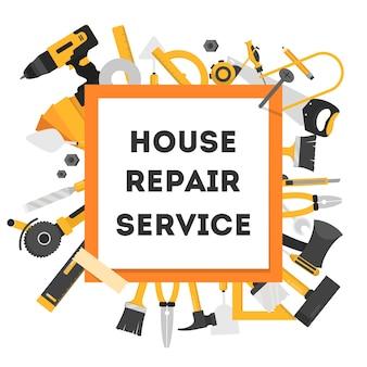 Bandera del concepto de reparación de la casa. equipo para reparación