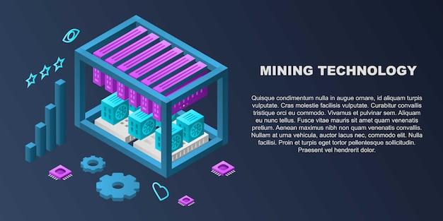 Bandera del concepto de tecnología minera, estilo isométrico