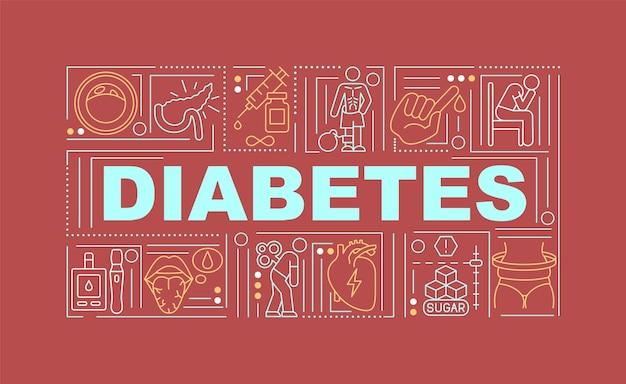 Bandera de conceptos de palabra diabetes. medicamentos para el tratamiento de enfermedades. infografía con iconos lineales sobre fondo rojo. tipografía creativa aislada. ilustración de color de contorno vectorial con texto