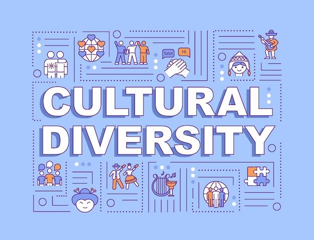 Bandera de conceptos de palabra de diversidad cultural. comunicación internacional. raza diferente. infografía con iconos lineales sobre fondo azul. tipografía aislada. ilustración de color rgb de contorno vectorial