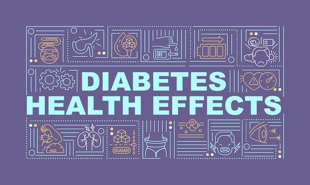 Bandera de conceptos de palabra de efectos de salud de diabetes. el resultado de la enfermedad. infografía con iconos lineales sobre fondo morado. tipografía creativa aislada. ilustración de color de contorno vectorial con texto