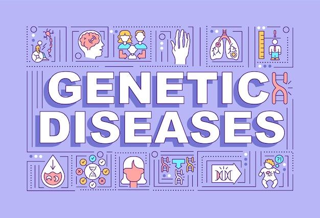 Bandera de conceptos de palabra de enfermedades genéticas. tratamiento de problemas de salud. ayuda médica