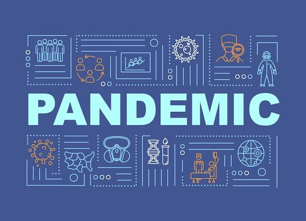 Bandera de conceptos de palabra pandémica. personas infectadas en cuarentena. peligro de brote de virus. infografía con iconos lineales sobre fondo azul. tipografía aislada. ilustración de color rgb de contorno vectorial