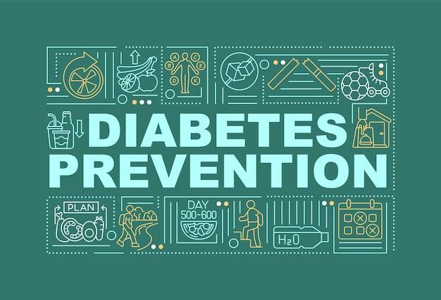 Bandera de conceptos de palabra de prevención de diabetes. tratamiento médico. infografía con iconos lineales sobre fondo verde. tipografía creativa aislada. ilustración de color de contorno vectorial con texto