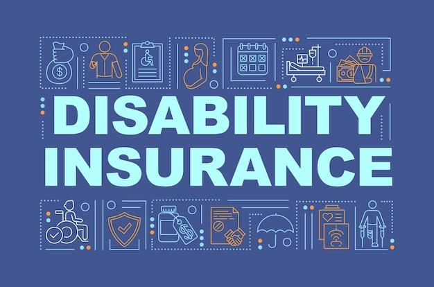 Bandera de conceptos de palabra de seguro de discapacidad. beneficios de la salud.