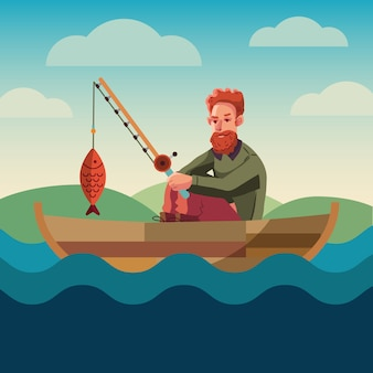 Bandera conceptual de pesca. diseño plano. recreación cerca del agua. club de hobbies de pesca.