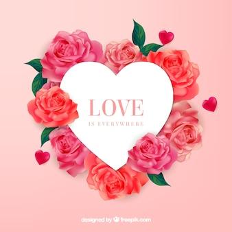 Bandera del corazón con hermosas rosas