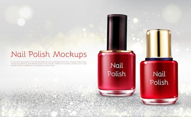 Bandera cosmética de los anuncios cosméticos del vector realista 3d del esmalte de uñas rojo o escarlata con la botella de cristal