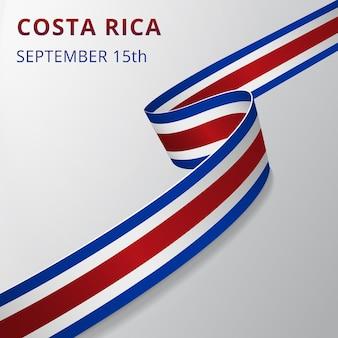 Bandera de costa rica. 15 de septiembre. ilustración vectorial. cinta ondulada sobre fondo gris. día de la independencia. símbolo nacional. plantilla de diseño gráfico.