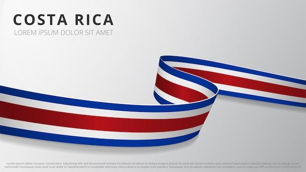 Bandera de costa rica. cinta ondulada realista. plantilla de diseño gráfico y web. símbolo nacional. cartel del día de la independencia. fondo abstracto. ilustración vectorial.