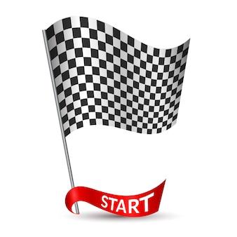 Bandera a cuadros de carreras con cinta roja inicio