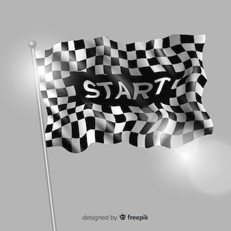 Bandera a cuadros clásica con diseño realista