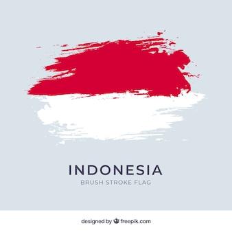 Bandera de acuarela de indonesia