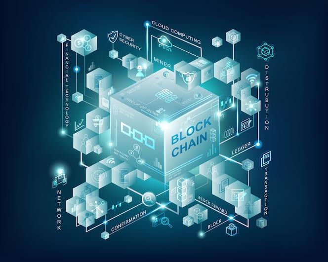 Bandera de blockchain tecnología infografía con fondo azul oscuro