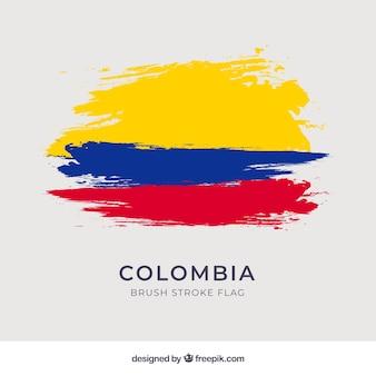 Bandera de colombia de pinceladas